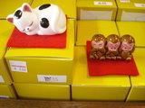 座布団付置物(三猿、眠り猫)